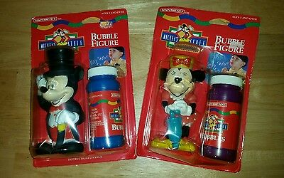 TOOTSIE TOY Pair!  Mickey and Minnie Mouse DISNEY Bubble Wands on Cards