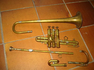 """Old Bb (?)  trumpet needs repair """"Wohlrab"""" w. interesting Mouthpiece """"Hüttl Cup"""""""