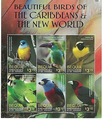 Bequia St Vincent Grenadines - 2016 Birds of Caribbean - Sheet of 6 MNH