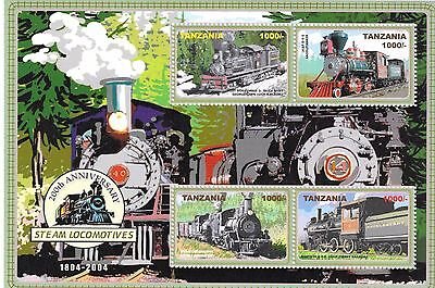 Tanzania -200th Anniversary of Steam Locomotives,2005 - Sc2366 Sheetlet of 4 MNH