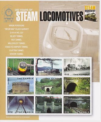 Gambia - Steam Trains, 2004 - Sc 2836 Sheetlet of 9 MNH