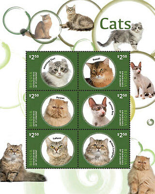 Bequia Grenadines of Saint Vincent   Cats, 2014   1420 S/H MNH