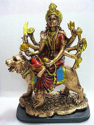 "DURGA STATUE 9""Hindu Divine Mother Goddess HIGH QUALITY Bronze Color Resin Deity"