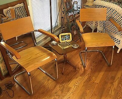 Pair Of Mid Century Thonet Eames Era Cantilever Chrome Lounge Chairs