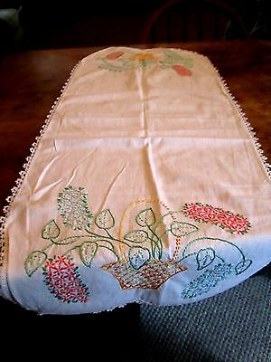 Table Runner, Vintage Hand Stitched, All Cotton 1940's