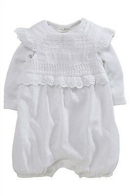 ВNWT NEXT • White Embroidered Lace Dungaree & Body Suit 2pc • 100% Cotton • 0-3m