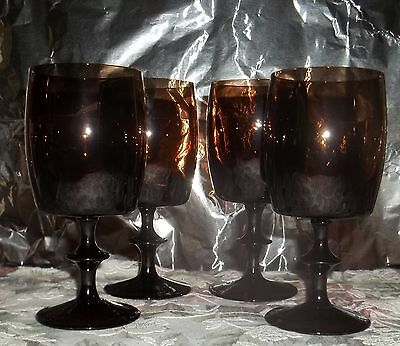 "4 Royal Crystal Water Goblets/wine Glasses/champagne Glasses Brown 6.25"" Tall"