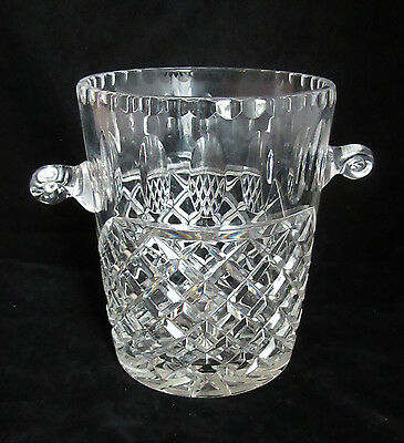 Cut-Glass Crystal Thumb Print Ice Bucket Wine Cooler Champagne 7""