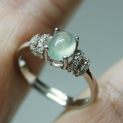 Size 6 ** CERTIFIED Natural (A) Icy Green Jadeite JADE Ring 925 Silver #R144