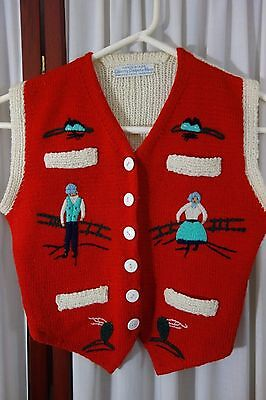 1950's Girl's Red Wool SWEATER VEST-Hand-Knit/Embroidered-Canada-VG-DARLING-SALE