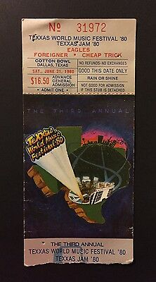 1980 Texxas World Music Festival Jam Eagles Foreigner Cheap Trick Ticket Stub