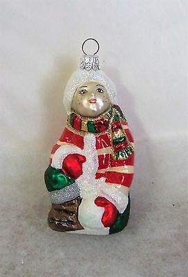 Slavic Treasures Glass Ornament Girl Snowball Christmas Poland MIB WRONG BOX R14