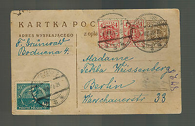 1922 Warsaw Poland Postcard Cover to Berlin Germany