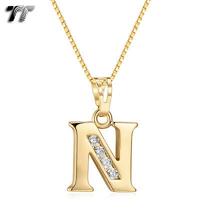 TT 18K Gold GP Letter N Pendant Necklace With Box Chain (NP327N) NEW