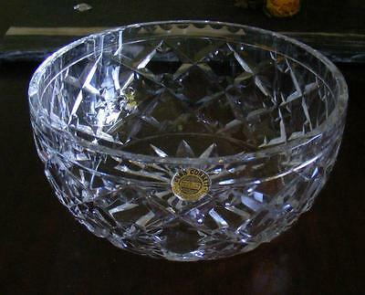 Webb Corbett Lead Crystal diamond cut bowl England dessert 1930 1940 Christmas