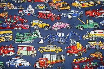 Cars Trucks Diggers & Motorbikes Multi-Colour Cotton Fitted Cot Sheet Handmade