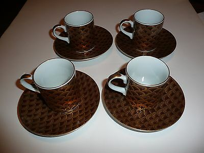 4 Vintage Otagiri MC Demitasse Cup and Saucer Sets , Japan,  Fish Scale Pattern