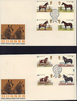(87320) CLEARANCE GB FDC x2 Horses T/L GUTTER PAIRS Kenilworth 5 July 1978