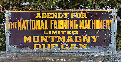 Scarce 1920 Advertising TIN SIGN National Farm Machinery Montmagny Quebec Canada