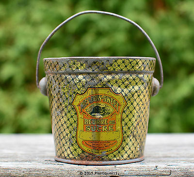Rare Vintage Advertising Tin Pail 14 oz MEADOW SWEET SUGAR BUTTER beaver Canada