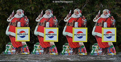 4-LOT! NOS 1960s Pepsi Cola SANTA Christmas standee cardboard Advertising SIGNS