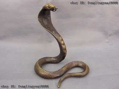 7.5 Chinese Folk Copper Bronze Fengshui Lucky Wealth Zodiac Snake Cobra Statue