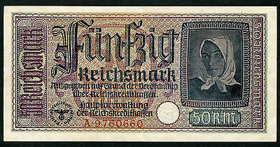 Germany WW2 50 Reichsmark 1940 -1945 Series A XF Condition !!!