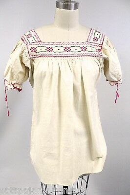 """VTG Ethnic Peasant Blouse Hand Embroidered Cotton Hippie Boho  40"""" Bust S M L"""