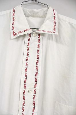 ANTIQUE Mens French Night Shirt White Cotton Red Embroidery L Pre Victorian
