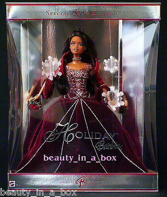 2004 AA Holiday Barbie Doll Celebration African American Red Burgundy Christmas