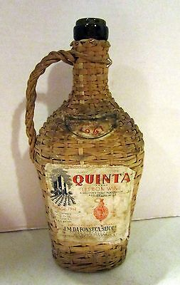 Vintage QUINTA Lisbon Wine wicker covered green bottle 1941 GC