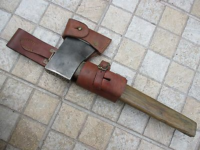 Antique Steel Wrought Blacksmith Made - Hatchet Axe Ax With Leather Sheath