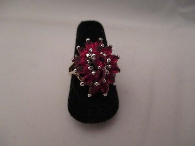 Vintage Ruby Red Crystals 18KGE Cocktail Ring Size 7