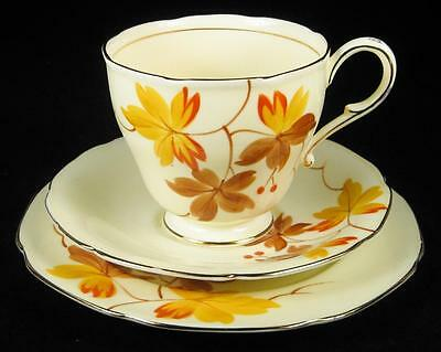 Paragon Art Deco Autumn Leaves Cup/Saucer/Plate Trio 1935+