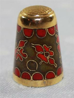 Cloissone Thimble Brass Red Green Floral Bright Blue Enameled Interior