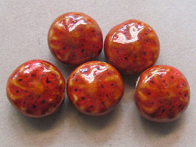 5 Red Textured 22mm Porcelain Beads(W25L1)