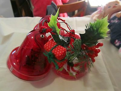 VINTAGE musical lighted Christmas Melody Bells-Large 3 Bell Cluster WORK