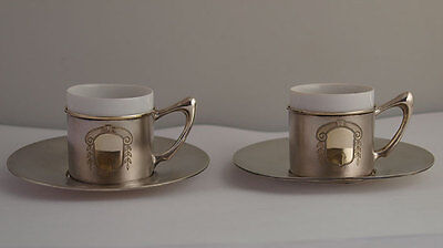 Elegant Pair Of Solid Silver Coffee Cans / Esspresso Cups With Saucers