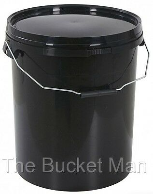 5 x 20 Ltr Litre Black Plastic Bucket with Lid and Metal Handle