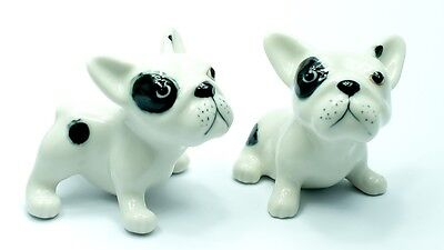 Figurine Animal Ceramic Statue 2 French Bulldog Dog - CDG007