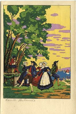 French/ Swiss Card 1900s with note on back about fashion in early century