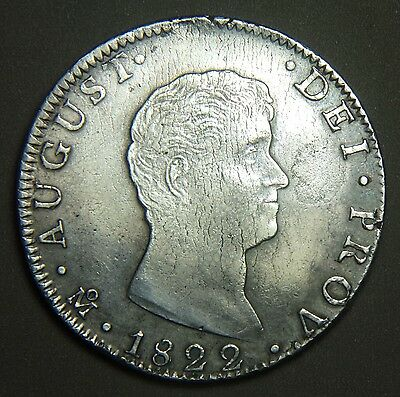 MEXICO - 1822 Mo JM AUGUSTIN ITURBIDE 8 REALES, CROSS ON CROWN, SILVER COIN,RARE