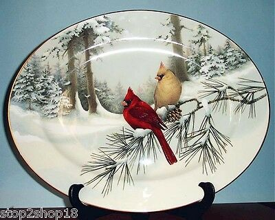 "Lenox Winter Greetings Scenic Serving Platter 16"" Made In USA Cardinal Birds New"