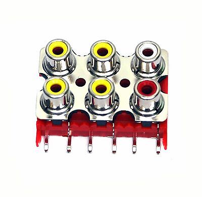 5pc RCA Jack x6 Female Connector Set Vertical PCB pin ABS Nickel HLR-0246V4B