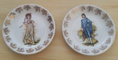 Blue Boy & Pinky Lawence 2 Plates, Wood & Sons, Burslem England (Mint)