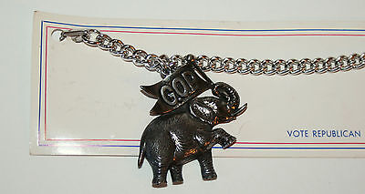 Silver Color Elephant Republican GOP Political Charm Bracelet 1960s NOS New Card