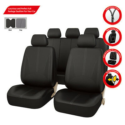 Premium New arrival Black PU leather Car Seat Covers Universal Fit Car TRUCK SUV