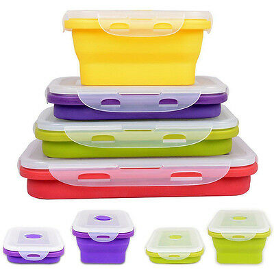 4 Size Collapsible Silicone Lunch Boxes Portable Food Storage Kitchen Container