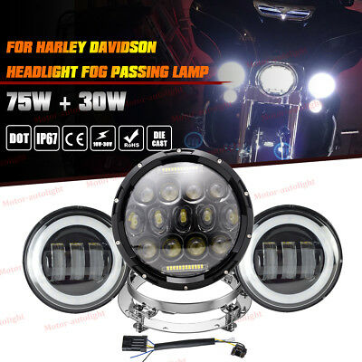 "7"" LED Headlight+Passing Lights+Mount Ring For Harley Touring Road King"