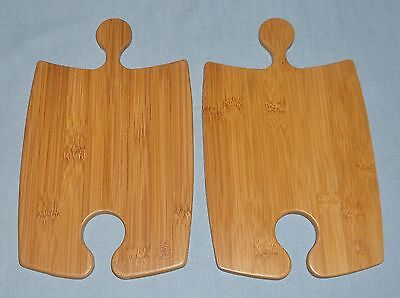 Two Small Totally Bamboo Cutting Boards Cheese Food Prep Serving Puzzle Pieces